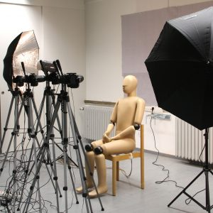 Thermal manikin being lit by heavy lighting